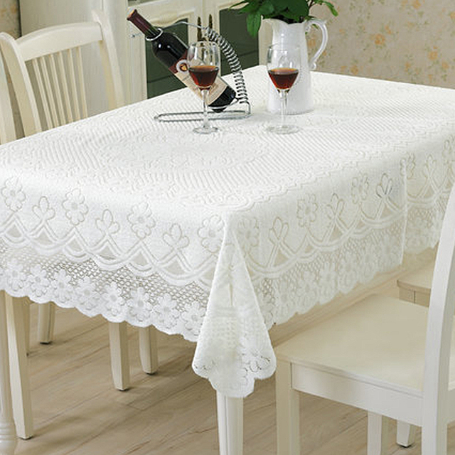 Yazi Europe Type White Lace Tablecloth Embroidered Floral Dustproof Cover Table Cloth Livingroom