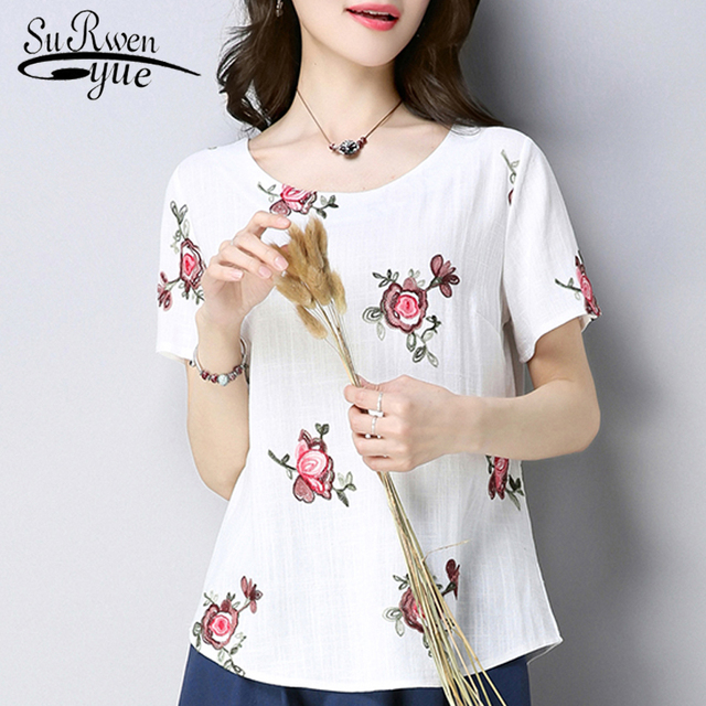 eba84f39929 2019 fashion short sleeve cotton linen women shirt blouse plus size summer  women tops o-