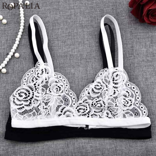b0933c7cbe570 Sexy Women Floral Underwear Sheer Lace Triangle Brassier Bra Crop Top  Bustier Push Up Brassiere Lingerie
