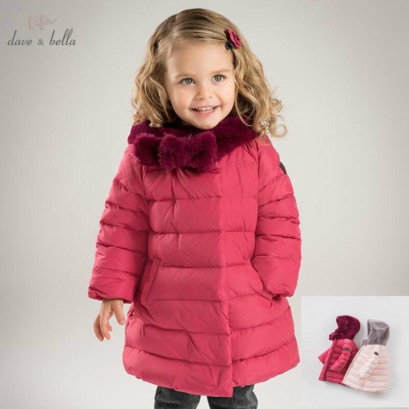 DB6091 Dave Bella Winter Baby Girls Down Jacket Children White Duck Down Padding Coat Kids Hooded Outerwear