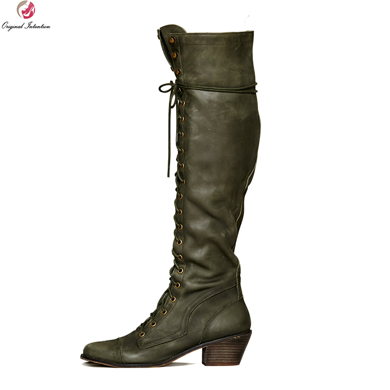 Original Intention Quality Women Knee High Boots Round Toe Square Heel Boots Fashion Army Green Shoes Woman Plus US Size 4-15 original intention elegant women knee high boots lace up round toe square heels fashion boots shoes woman plus size 4 15