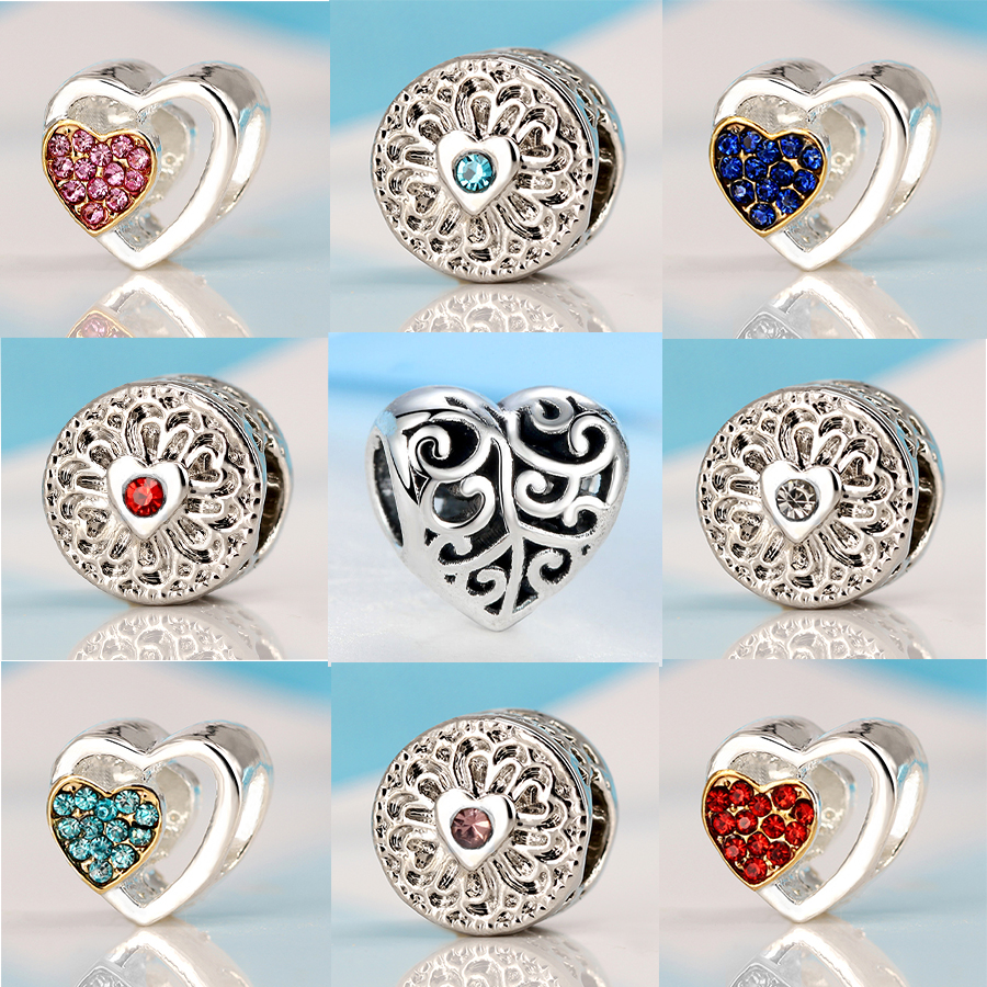 Original Beads: New Silver Charm Beads Hollow Love Heart With Colorful