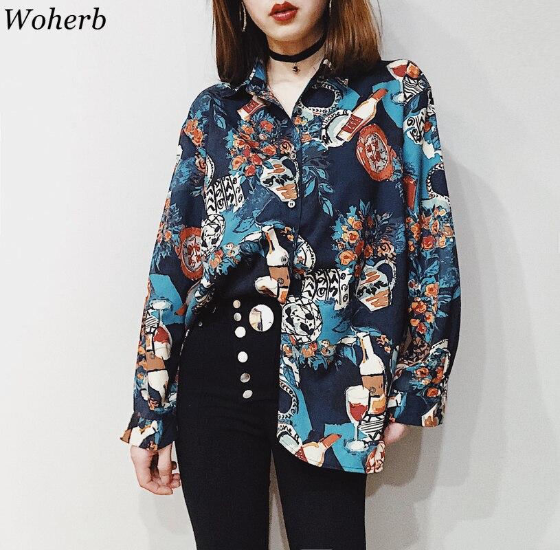 Woherb винтажная Блузка Женская Harajuku рубашка Топ 2020 уличная женская Свободная Повседневная блуза корейская модная одежда 21936