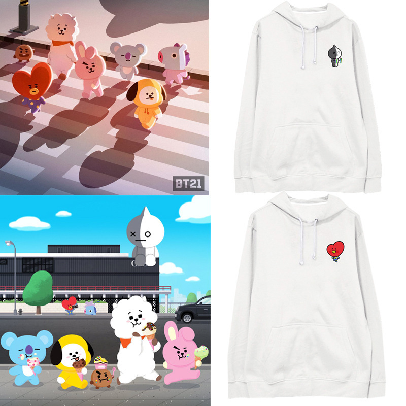 Kpop home New BTS Bangtan Boys Fans Club bt21 Same Q blouse hoody cool sweatshirt harajuku style man womans hoodie with hat