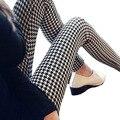 East knitting ot-080 2016 barras de moda mulher houndstooth leite seda leggings alta elastic tornozelo comprimento calças leggings mulher