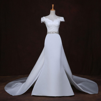 Lace appliques new robe de mariage with empire cap sleeve mermaid v neck detachable skirt wedding.jpg 350x350