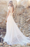 Romantic Beach Wedding Dress Boho Vintage V Neck Pearls Cap Sleeves Floor Length Chiffon Bridal Gown Plus Size