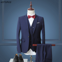 Plus Size 4XL 5XL Solid Wedding Suits For Men 2016 Latest Coat Pant Design Blue Grey