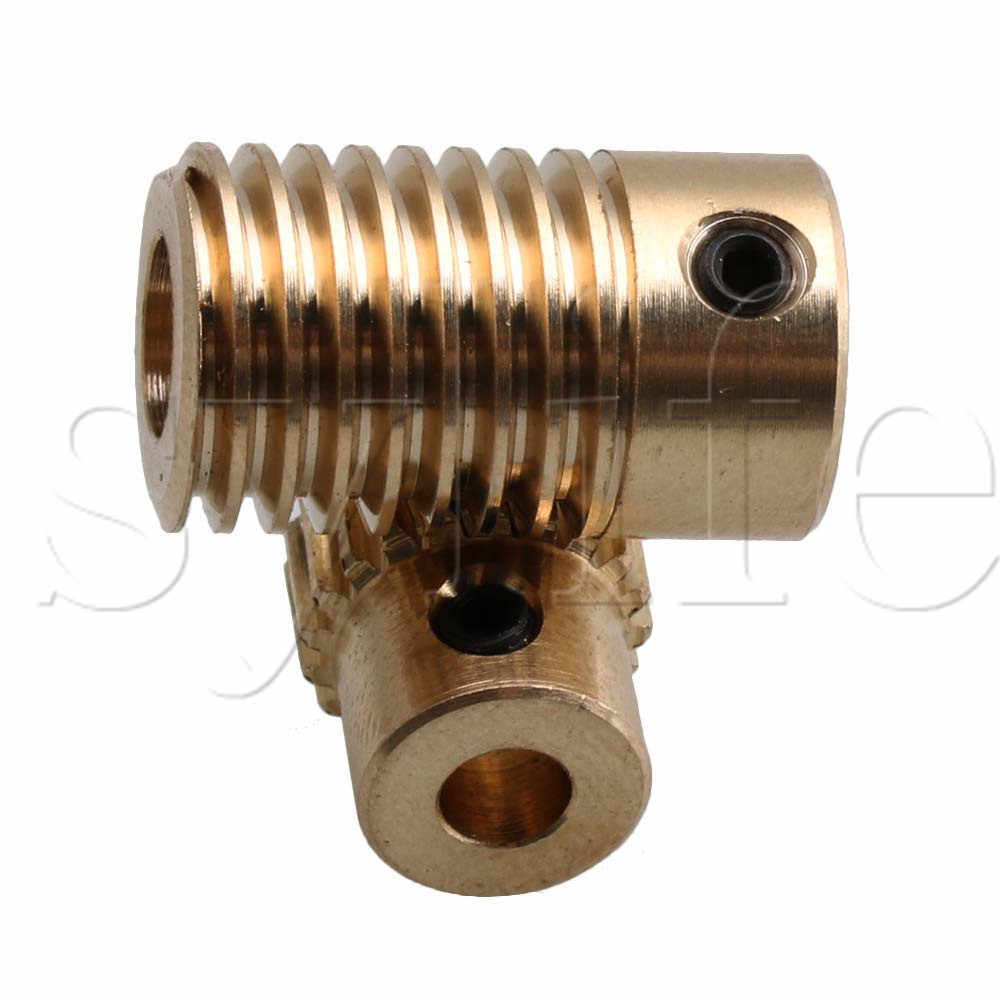 0 5 Modulus 1/20 Brass Worm Gear Set with 6mm Hole Shaft and 20