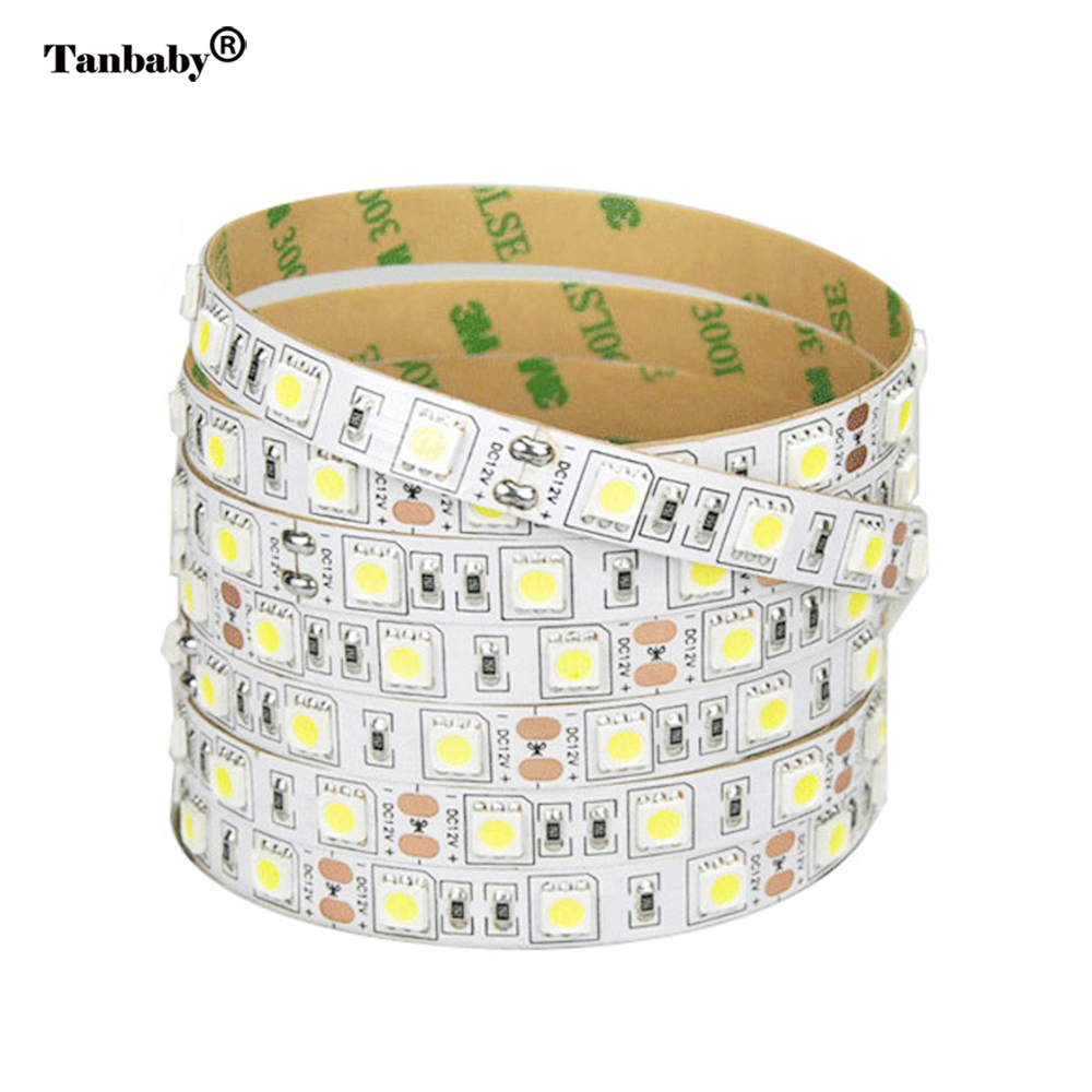 Tanbaby DC12V led strip light SMD 5050 60led/M Non-waterproof flexible strips bar lighting indoor decoration home RGB White LED