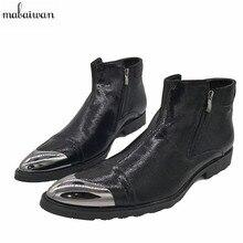 Новинка 2017 года ковбойские ботинки мужские черные на молнии Ботильоны на плоской подошве Botas militares обувь с острым носком Мужская обувь bota Masculina