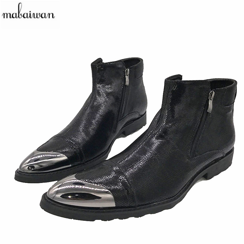 Mabaiwan 2017 New Cowboy Boots Men Black Zipper Flat Ankle Boots Botas Militares Pointed Toe Shoes Zapatos Hombre Bota Masculina wool felt cowboy hat stetson black 50cm