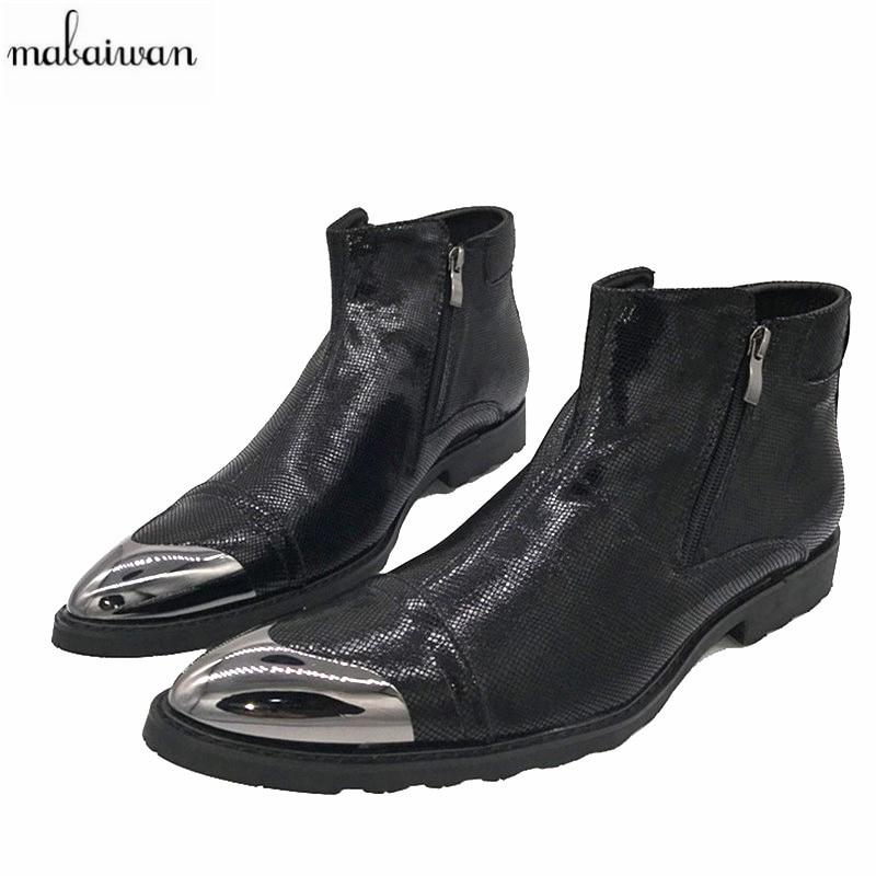 0efded42f6 Detalle Comentarios Preguntas sobre Mabaiwan 2017 Nuevo vaquero Botas  hombres negro cremallera Botines botas militares en Punta Zapatos Hombre  bota ...