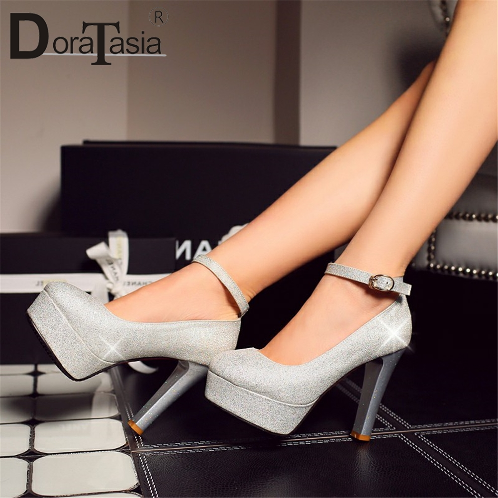DoraTasia New Plus Size 28-52 Sexy Party Women Pumps Thick Platfrom Super High Square Heels Buckle Strap Pumps For Ladies