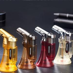 Image 2 - Зажигалка для труб, распылитель, компактная Бутановая струйная Зажигалка для сигар, турбо зажигалка 1300 с, ветрозащитная металлическая струйная Зажигалка без газа