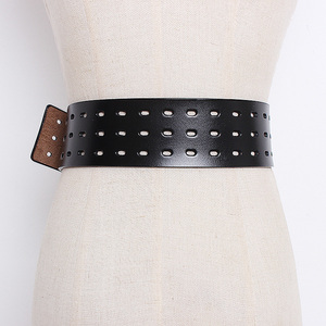 Image 2 - CHICEVER סתיו בציר אופנה Cowskin עור חגורות נקבה חלול החוצה רחב חגורות לנשים קוריאני סגנון גאות 2020