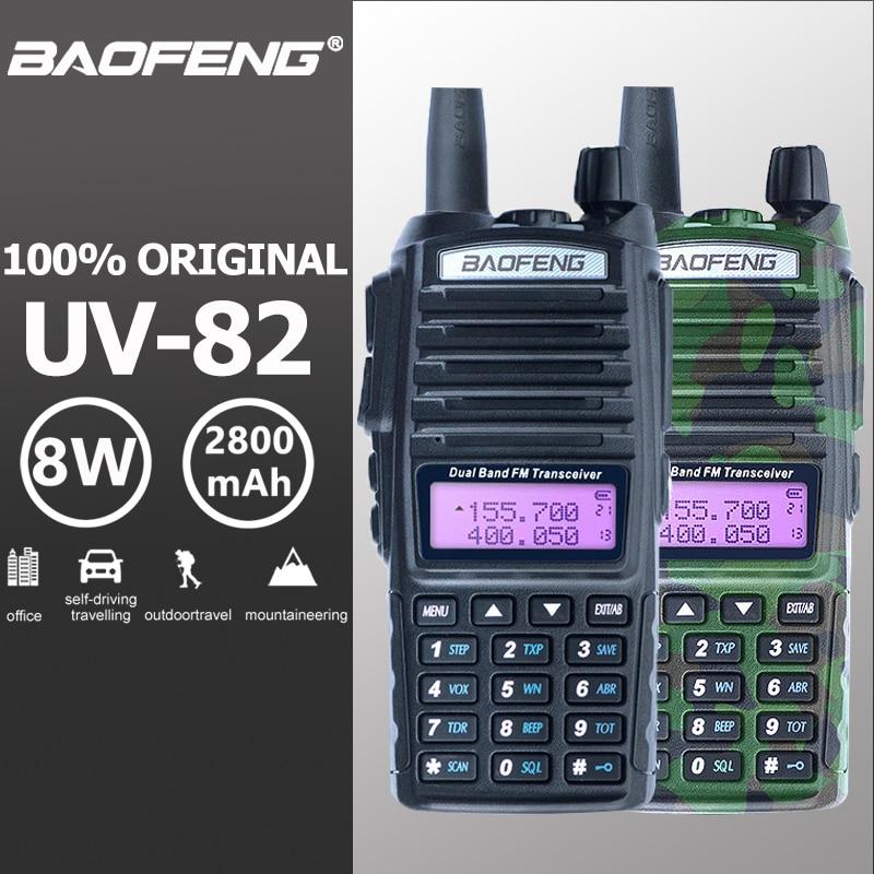 Baofeng UV-82 Walkie Talkie 10 km Dual PTT Two Way Radio Dual Band Portatile UV 82 Ricetrasmettitore UV82 Woki Toki ham CB Radio Station