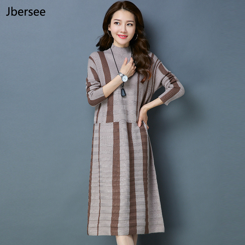 Christmas Sweater Dress Women Vintage Cotton Long Sleeve Knitted Dress Autumn Winter Turtleneck Loose Women Dresses Brazil
