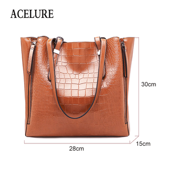 ACELURE Women Alligator Pu Leather Crossbody Bags Solid Color Female Lager Casual Totes Fashion Ladies Daily Shoulder Bags 1