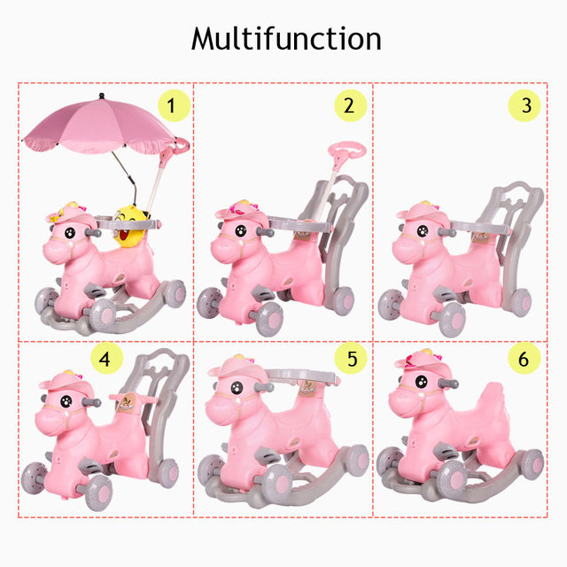 Baby Rocking Chair Children Ride on Horse Toy Stroller with Music Infant Rocker Chair Foldable Four Wheels Baby Stroller 3 In 1 2