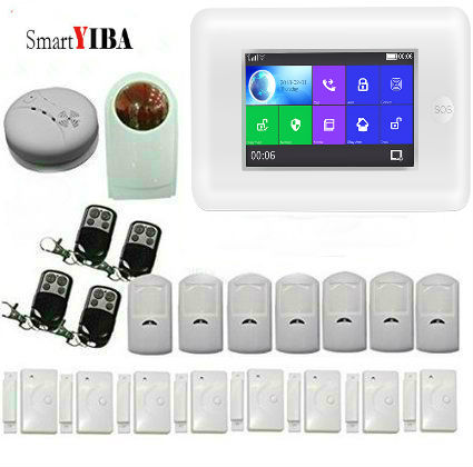 SmartYIBA Wifi GSM Smart Home Security Alarm System Kit Strobe Siren Wireless Remote Control Door Detector Burglar Alarm