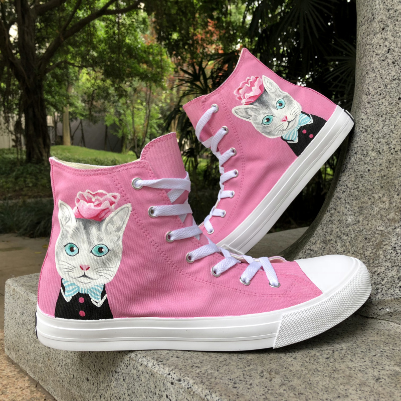 Wen Design Hand Painted Original Shoes Cat with Blue Bow Tie Pink Flower High Top Unisex ...