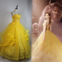 Beauty and The Beast 2017 Princess Belle Cosplay Costume Fancy Newest Belle Princess Dress Adult Women Halloween Costume
