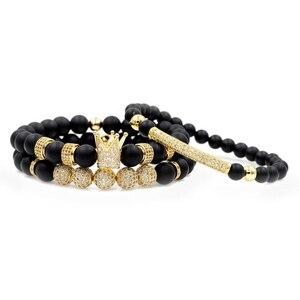 Image 2 - Mężczyźni bransoletka 3 sztuk/zestaw Uxury moda korona Charm bransoletka z kamienia naturalnego dla kobiet i mężczyzn Pulseras Masculina dla kobiet bransoletki
