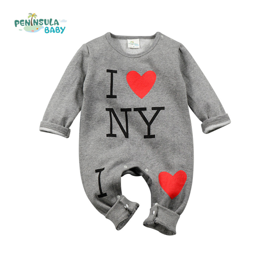 Newborn Infant Clothing Winter Baby Rompers Toddler Costumes For Kids Letter I Love NY Kid Baby Girl Boy Romper newborn baby rompers baby clothing 100% cotton infant jumpsuit ropa bebe long sleeve girl boys rompers costumes baby romper