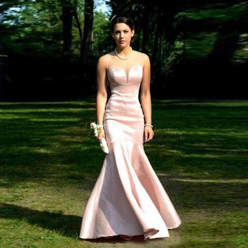Modest Simple Pearl Pink Evening Dresses Elegant Mermaid