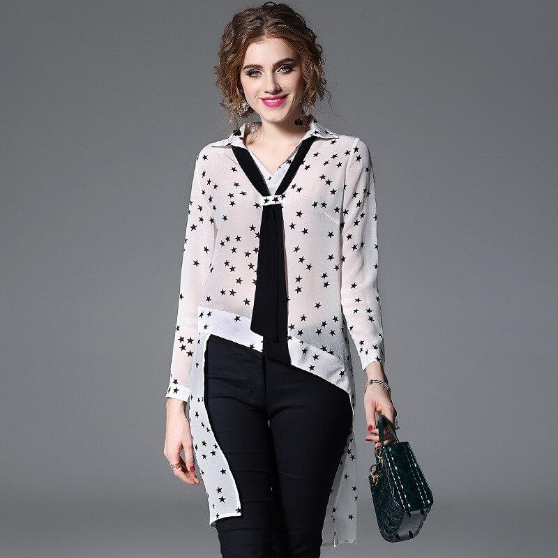 Femmes Manches white Lâche 2018 Longues Noir De Designer Aysmmetrical À Print H237 Cravate Star Femin Blouse Piste Nouvelle Mode Black Chemises Chemise 1Yq81Z