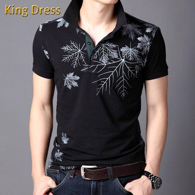 Человек Моды Поло Рубашки Высокого Качества Лето Листья Печатных Короткими Рукавами Тонкий Хлопок Большой Размер М-6XL Мужчины рубашка-Поло