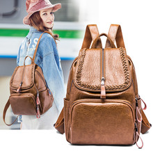 Handmade leather backpack women 2019 fashion casual multifunction travel backpack large capacity school bags for college