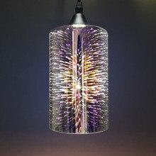Retro silindirik cam kolye ışık yaratıcı elektrolizle 3D havai fişek krom E27 tutucu asılı lamba mutfak restoran