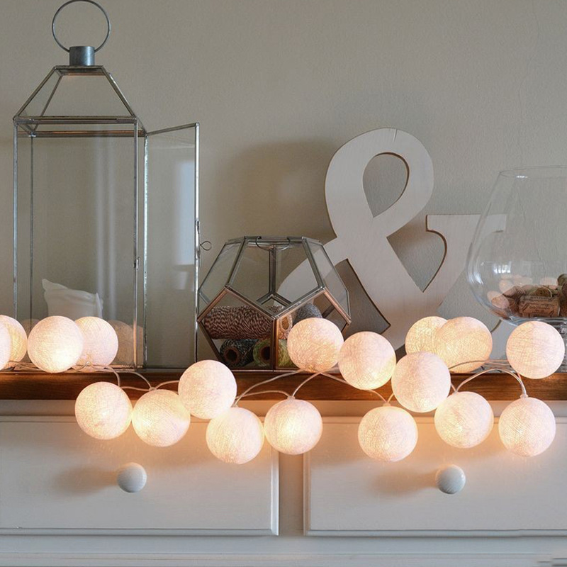Cotton ball lamp string LED color lamp girl heart romantic bedroom new year room decoration battery small bulb стулья для салона led by heart 2015
