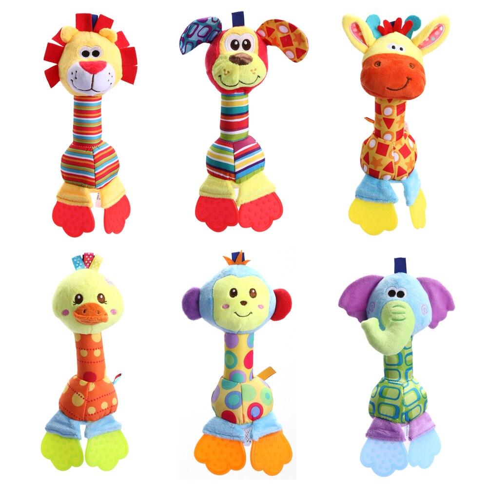 Kids Baby font b Toys b font Soft Plush Doll Animals Handbells Teether font b Toys