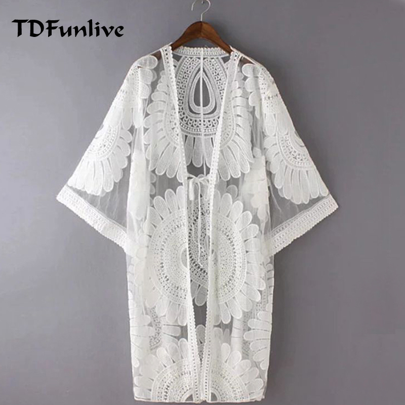 cea094d34abed TDFunlive 2017 Pareo Beach Cover Ups Floral Embroidery Bikini Cover Up  Swimwear Women Robe De Plage