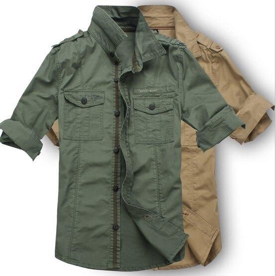 ... Slim Fit Koszula Mężczyzna Koszulka Homme armia od zaufanego