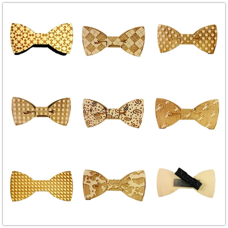 Hot On Sale European Fashion wooden magnet men's bowtie adult necktie bow tie party hip Hop wood butterfly tie