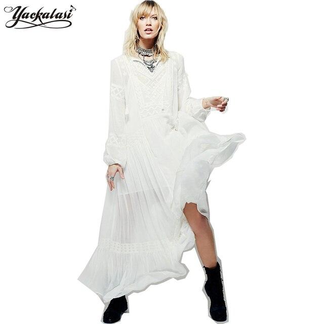 9a0aa41b49173f YACKALASI Bohemian Lange Jurk Zomer Vrouwen Vestidos Vintage Etnische Bloem  Geborduurde Tuniek Wit Casual Hippie Boho