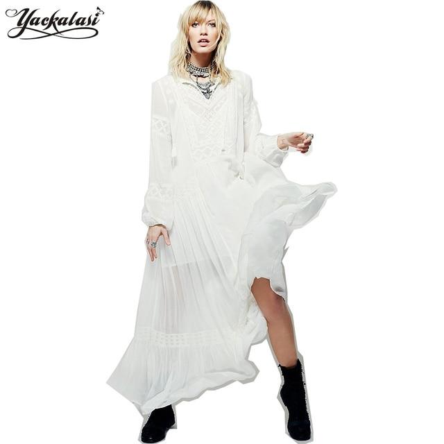 4734bd9bae71 YACKALASI Bohemian Long Dress Summer Women Vestidos Vintage Ethnic Flower  Embroidered Tunic White Casual Hippie Boho People