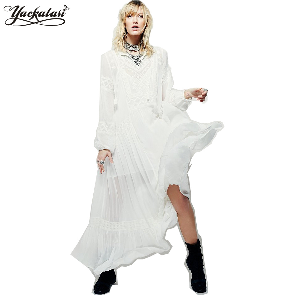 YACKALASI Bohemian Long Dress Summer Women Vestidos Vintage Ethnic Flower Embroidered Tunic White Casual Hippie Boho People