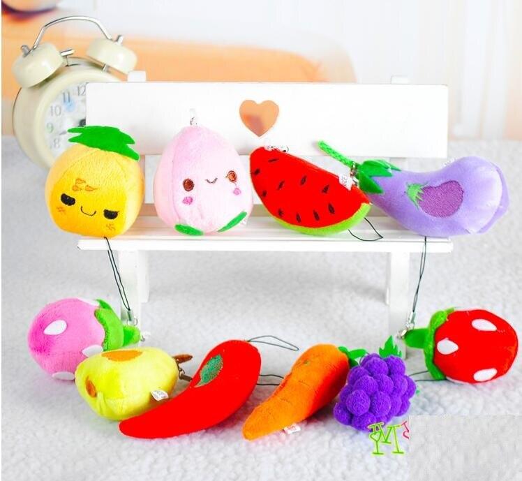 10Pcs Lot plush toys Small Pendant Fruit vegetables Series Model gift Watermelon grapes