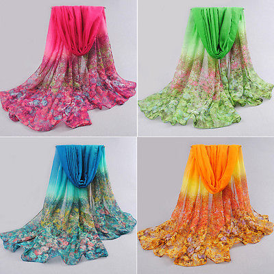 Women Sexy Floral Print Lady Soft Long Neck Large   Scarf     Wrap   Shawl Voile Stole