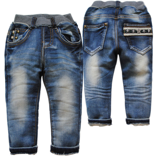 3784 children's clothing  baby girls boys kids soft  jeans denim  navy  blue  pants trousers spring autumn not fade casual pants