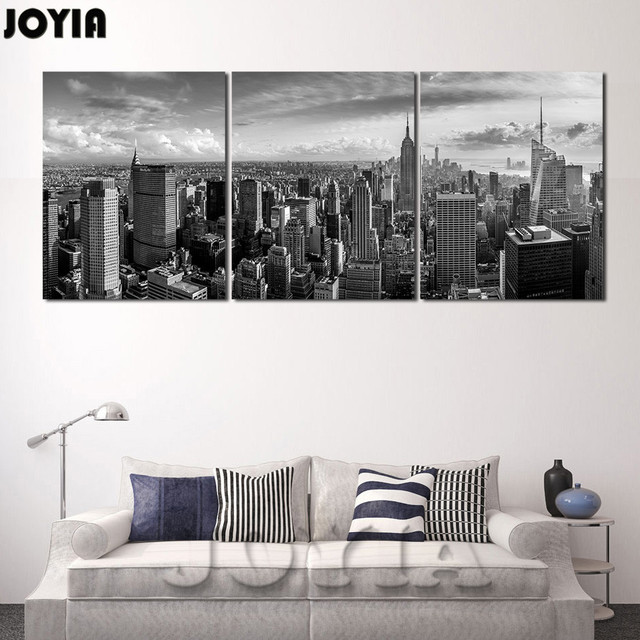 Large 3 Panel Canvas Manhattan New York Cityscape Panorama Modern ...