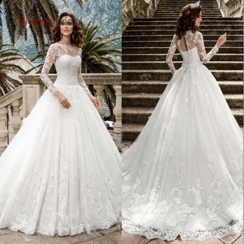 Vivian Wedding Gown: Vivian's Bridal 2018 Illusion Mesh Lace Appliques Wedding