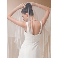 LAN TING BRIDE One tier Beaded Edge Scalloped Edge Wedding Veil Chapel Veils 53 Beading 102.36 in (260cm) Tulle A line,