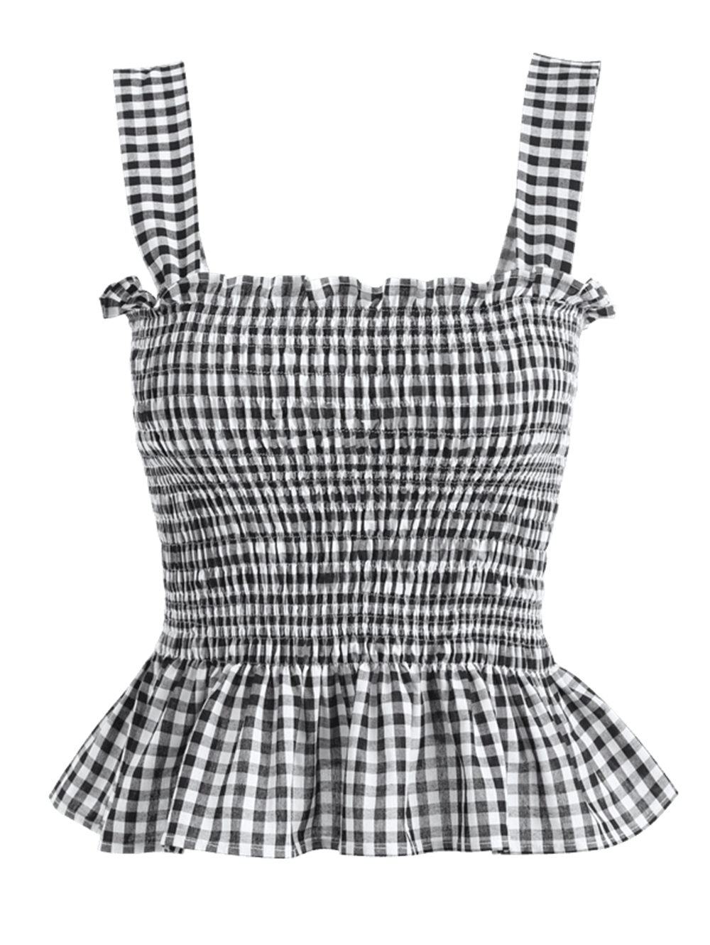 Women Sexy Striped Camis Gingham Shirred   Tank     Top   Cotton Square Neck Plaid High Waist Sleeveless Shirt Lady Casual Summer   Tank