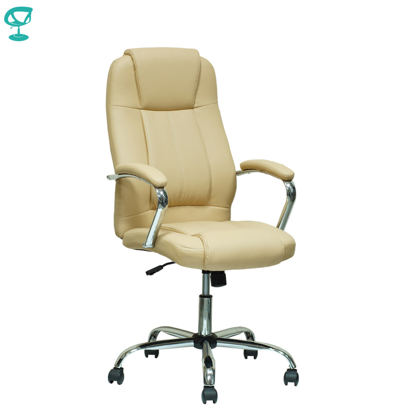 94646 Beige Office Chair Barneo K-1 Perforated Eco-leather High Back Chrome Armrests With Leather Straps Free Shipping In Russia